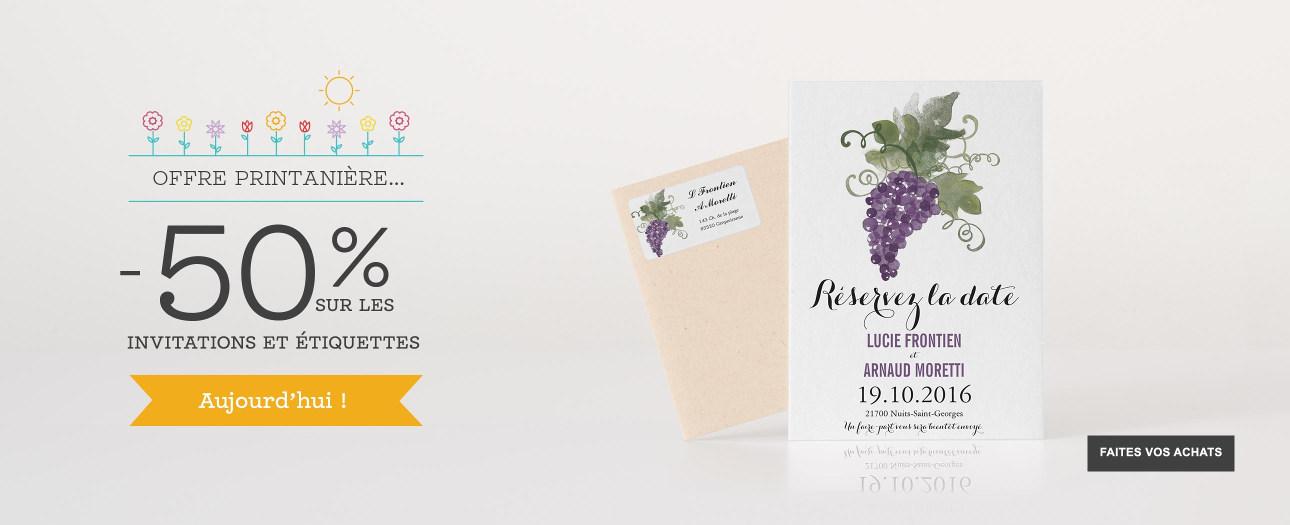 Faire-part, cartons d'invitation, menus, cartes RSVP et étiquettes