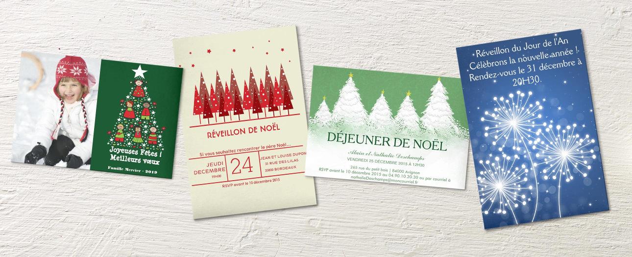 Cartons d'invitation et cartes de vœux pour les fêtes.