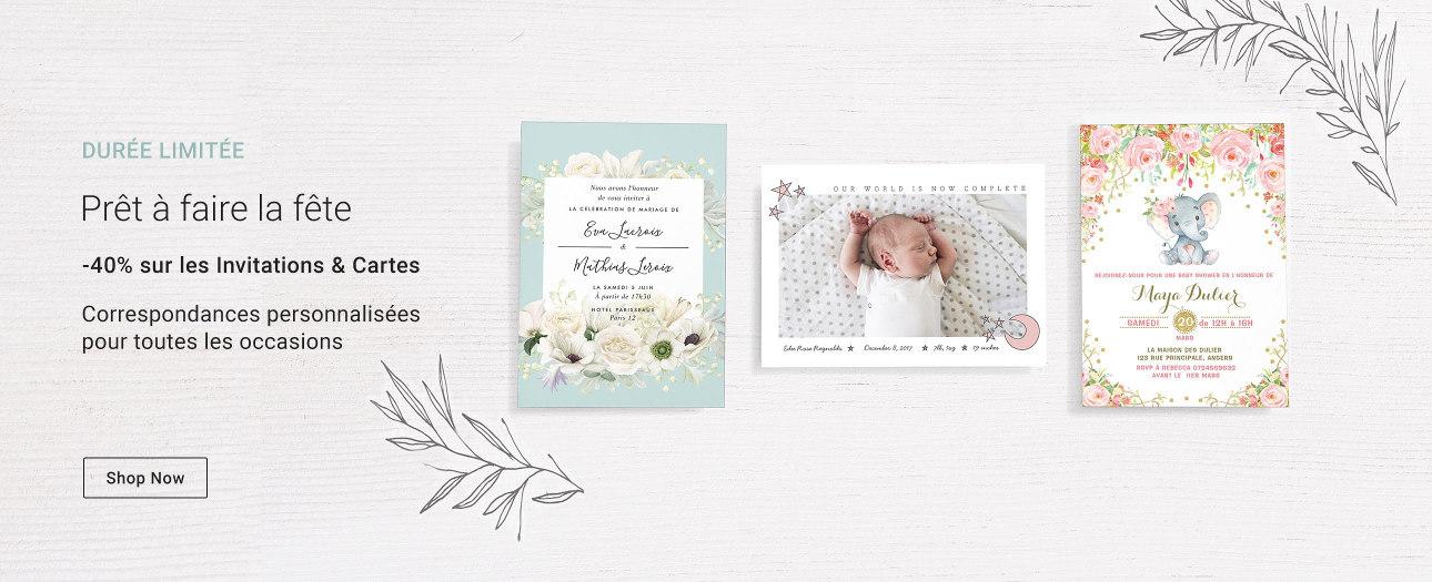 -40% sur les Invitations, Cartes de vœux, Cartes postales & Cartes photos