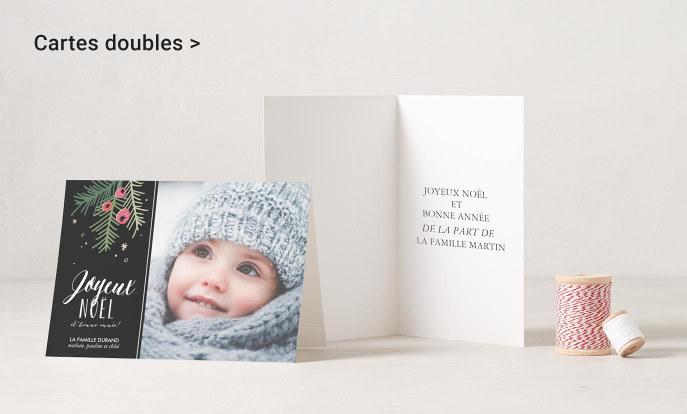 cartes de vœux doubles pour Joyeux Noël et bonne année