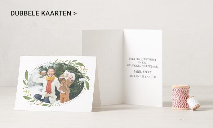 Leuke gevouwen kerstkaarten met je eigen foto of tekst