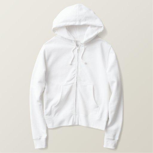 Blanc Embroidered Veste à capuche brodée avec zip pour homme