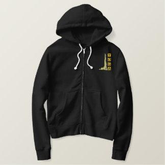 Sweat - shirt à capuche noir de fermeture éclair