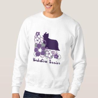 Sweatshirt Brodé Ketmie pourpre Yorkshire Terrier