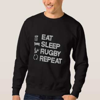 Sweatshirt Brodé Mangez le sport de rugby de répétition de rugby de