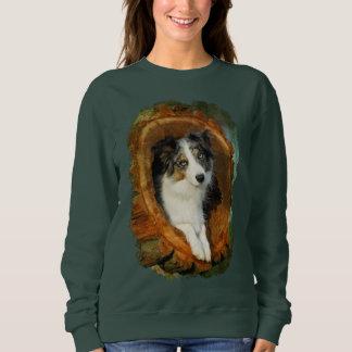 Sweatshirt Classique drôle animal Merle de chien bleu de