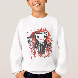 Sweatshirt grunge sanglante squelettique d'ours de nounours