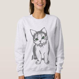 Sweatshirt Le chat de blanc gris avec le jade observe le