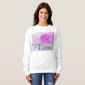Sweatshirt Love Gris et Mauve