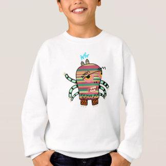 Sweatshirt Monstre rayé coloré de bande dessinée avec six