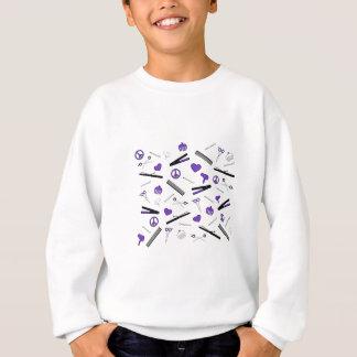 Sweatshirt Paix, amour, et accessoires de cheveux (pourpres)