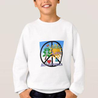Sweatshirt Paix, amour, et signe d'Acceptation-Paix