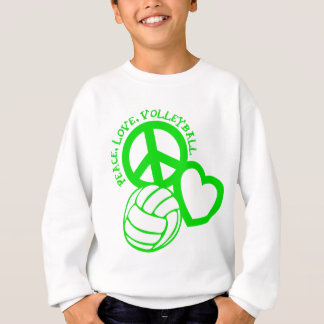 Sweatshirt Paix-Amour-Volleyball. vert