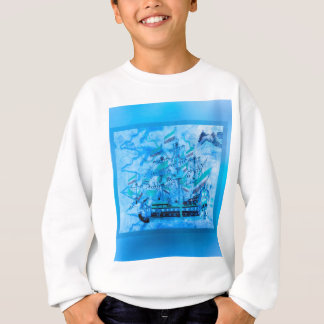 Sweatshirt Ressacs nautiques bleus de bateau de pirate