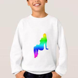 Sweatshirt Silhouette de femelle d'arc-en-ciel