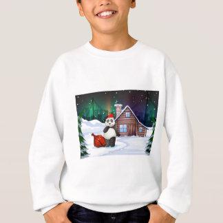 Sweatshirt Un panda de Père Noël avec un sac rouge plein des