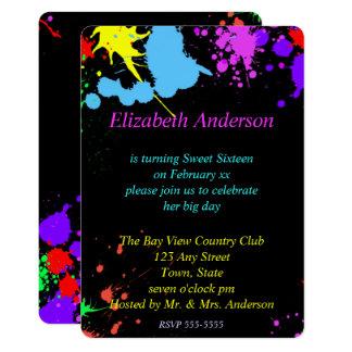 Sweet sixteen, bat mitzvah, invitation de néon de
