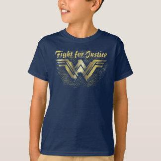 Symbole balayé d'or de femme de merveille t-shirt