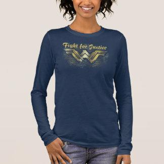 Symbole balayé d'or de femme de merveille t-shirt à manches longues