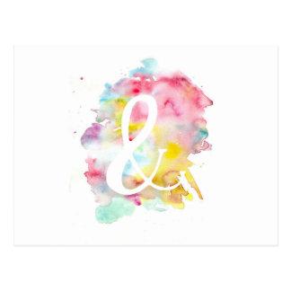 Symbole blanc d'esperluète d'aquarelle lumineuse carte postale
