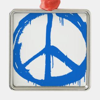 Symbole bleu de signe de paix ornement carré argenté