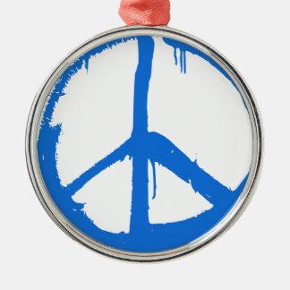 Symbole bleu de signe de paix ornement rond argenté