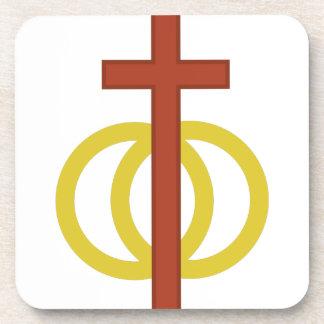 Symbole chrétien de mariage sous-bock
