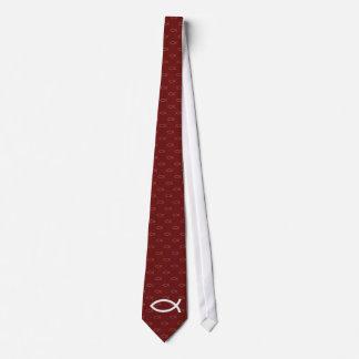 Symbole chrétien de poissons - cravate rouge foncé