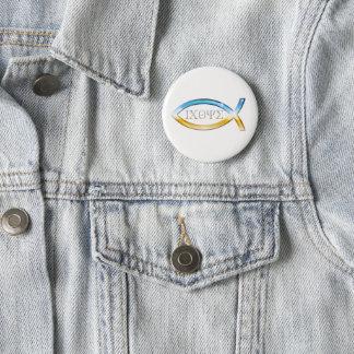 Symbole chrétien de poissons d'ange badge rond 5 cm