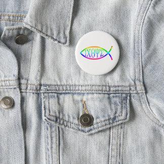 Symbole chrétien de poissons d'ICHTYS Badge Rond 5 Cm
