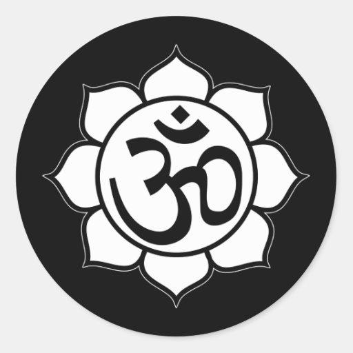 symbole d 39 aum de fleur de lotus sticker rond zazzle. Black Bedroom Furniture Sets. Home Design Ideas