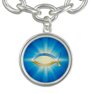 Symbole de chrétien d'Ichthus de ciel et de terre Bracelets Avec Breloques