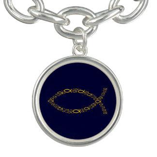 Symbole de chrétien d'Ichthus d'or Bracelet Avec Breloques