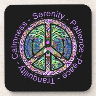 Symbole de paix avec l'arbre de la vie et des mots sous-bock