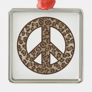 Symbole de paix de léopard ornement carré argenté