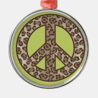 Symbole de paix de léopard ornement rond argenté