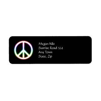 Symbole de paix mignon étiquette d'adresse retour