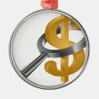 Symbole dollar d'or de loupe ornement rond argenté