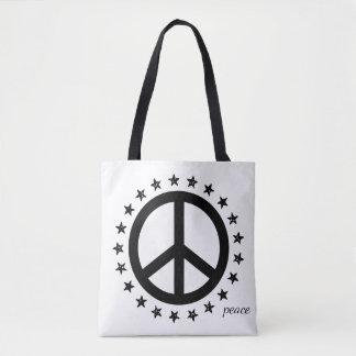 Symbole et étoiles de paix noir et blanc audacieux tote bag