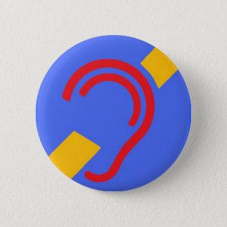 Symbole international pour sourd, rouge, jaune sur badge rond 5 cm