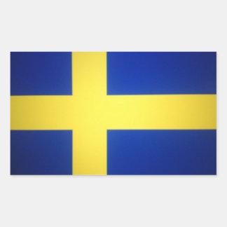 Symbole suédois affligé de drapeau sticker rectangulaire