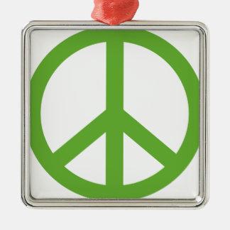 Symbole vert de signe de paix ornement carré argenté