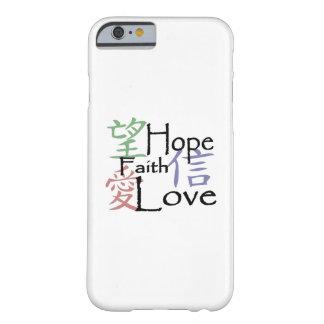 Symboles chinois pour l'amour, l'espoir et la foi coque iPhone 6 barely there