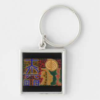 Symboles curatifs de maîtres d'USUI REIKI Porte-clé Carré Argenté