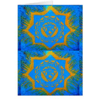symboles tantric d'or bleu carte