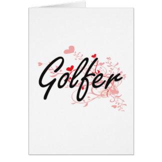 Système de travail artistique de golfeur avec des carte de vœux