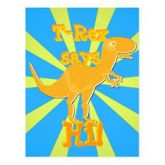 T-Rex dit salut la carte postale