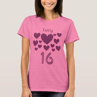 T-shirt 16ème Les masses de fille d'anniversaire de rose