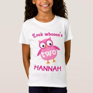 T-Shirt 2ème rose mignon A02 de hibou de fille