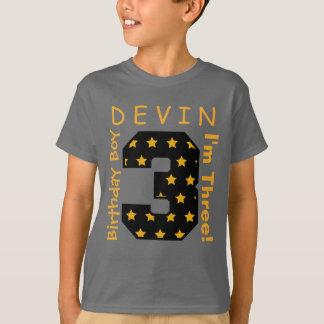 T-shirt 3ème Nombre de garçon d'anniversaire avec les